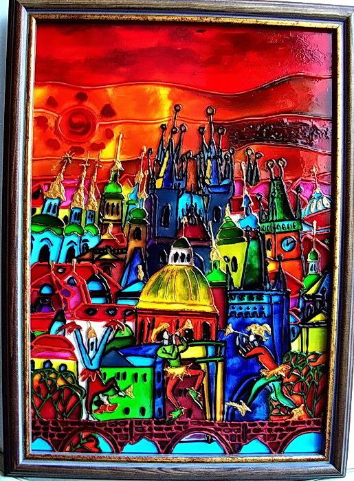 город...витражные краски, роспись по стеклу.