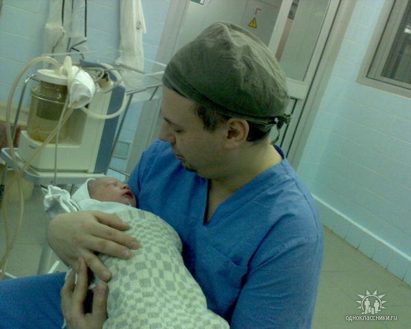 папа с дочкой через 10 миин. после е рождения