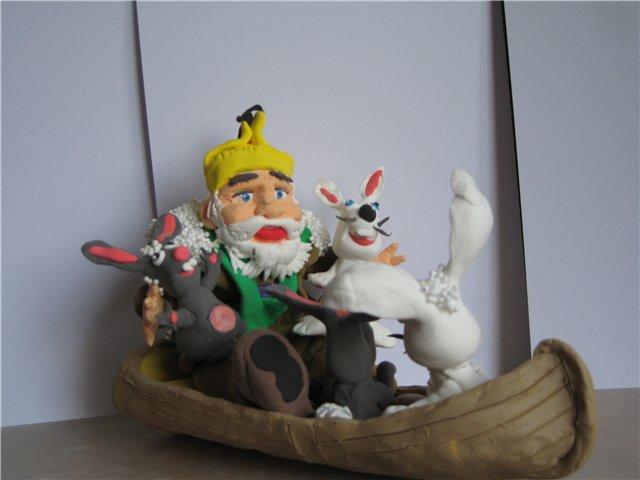 Дед мазай и зайцы поделка