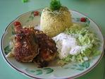 Жаренный хек с отварным рисом