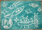 Космос (я рисовала воском, Макса красками)
