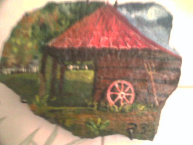 Рисунок дома на камне 60