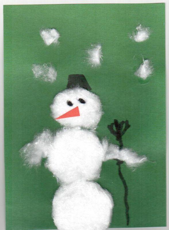 Снеговичок из ваты.