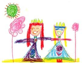 Принцессы,нарисовала Амелия 9 лет