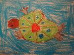 Морская черепаха. Пастель.